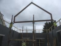 Roof steel beams during installation