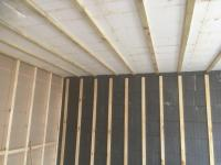 Internal walls and ceiling battened out to receive plasterboard finish